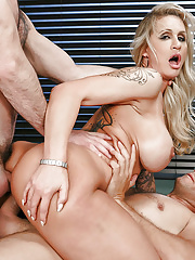 Aged horny tattooed mature woman Ryan Conner taking two cocks in hardcore DP