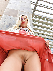 Ashley Fires in glasses flashing her hairy twat outdoors upskirt