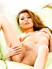 Asian Charmane Star with Tattoo Wearing Black Lingerie