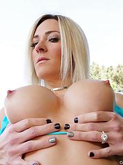 Athletic blonde milf Blake Morgan takes off her blue bikini