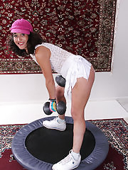 Athletic brunette Echo from AllOver30 doing some naked stretching