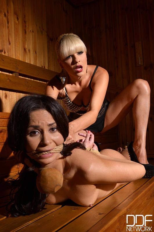 tied naked in sauna