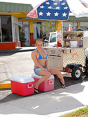 Bangin big tis milf selling hot dongs in her bikini gets her box pounded hard then face creamed