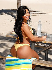 Banging hot big booty beach babe nailed hard in her tight asshole hot black ass