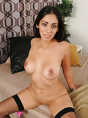 Beautiful and exotic Bianca Mendoza strips off her sexy black lingerie