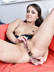 Beautiful Angel Karyna fucks herself with a glass toy