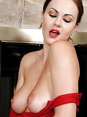 Beautiful European Tina Kay looks sexy in her red dress flashing her big tits