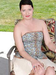 Beautiful Kali Karinena strips on her lawn chair