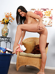 Beautiful older Misty Anderson stetching out her tanned athletic boday