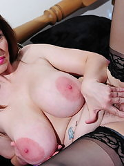 Big breasted housewife getting herself off