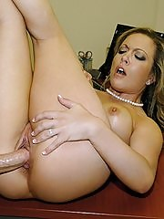 Big tits mini skirt babe nailed hard against the wall hot office desk sex
