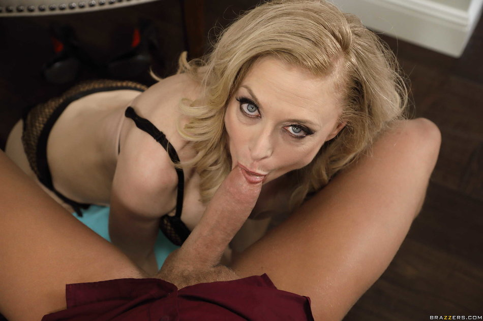 Big titted mature cougar Nina Hartley tasting a young cock ...