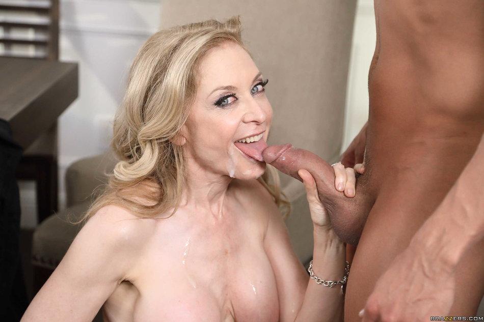 ... Big titted mature cougar Nina Hartley tasting a young cock