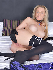 Bigtit blonde sheds her lingerie to play with her cock starved snatch