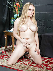 Blonde Aiden Starr strips off her lingerie and spreads