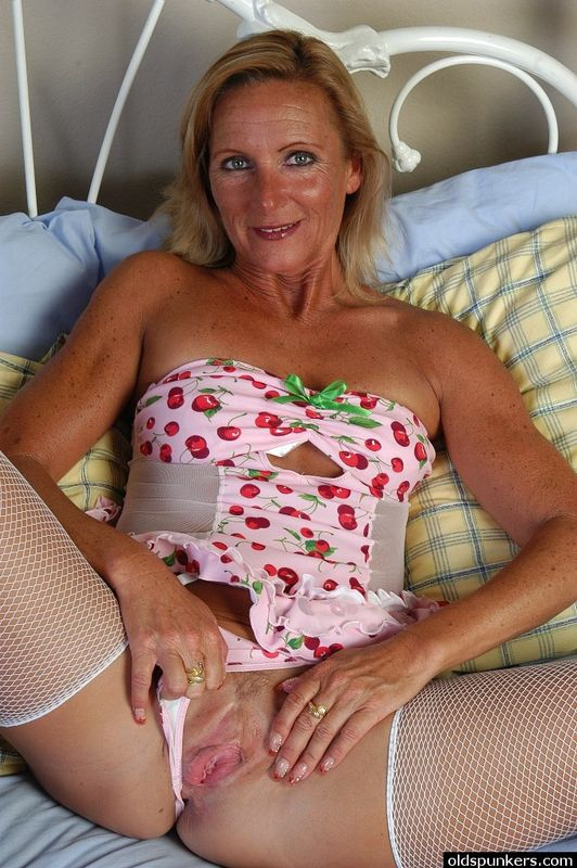 White fishnet stockings milfs