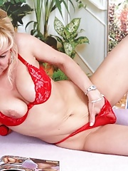 Blonde granny toying herself before interracial action