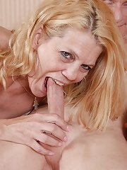 Blonde mature gets jizzed on tits after a hard fuck