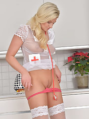 Blonde Samantha Snow wants to be your personal nurse
