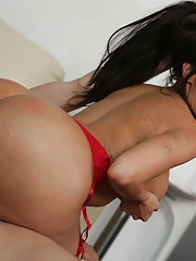 Booty Lela Star removes her red stockings and messy facial after hardcore fucking