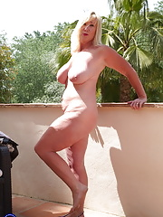 British big breasted and pierced Melody Charm in outdoor scene