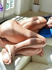 Brunette busty hottie Isis goes wild masturbating