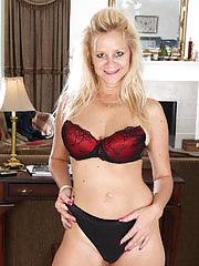 Busty blonde MILF Haidi Gallo slides off her red elegant dress here