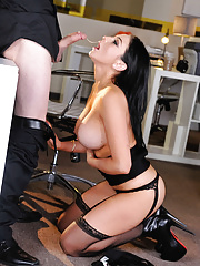 Busty brunette in stockings Audrey Bitoni seduces her coworker