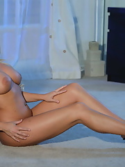Busty Christie Stevens gets her holes stretched by a big white cock