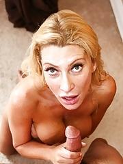 Busty cougar Jennifer Best eats a young dude's hard dick