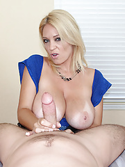 Busty milf Charlee Chase strokes cock sensually