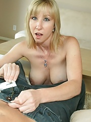 Busty milf sucking her young neighbor