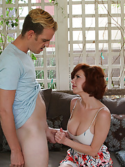 Busty milf Veronica stroking big cock of her step son