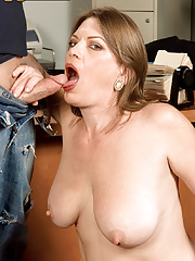 Busty office milf Randi Layne sucking and fucking stiff dick