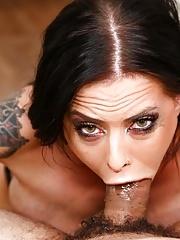 Busty Pornstar Brandy Aniston eats a cock buried deep in her twat