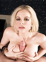 Busty wife Jayden Prescott licking big balls and tit fucking
