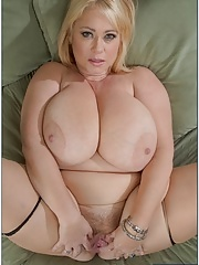 Chubby busty mature Samantha receiving huge dick in her dripping cunt