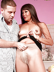 Cougar asian hairy mom Becca Rose servicing her younger friend