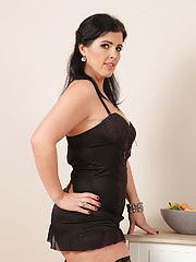 Curvy cutie Montse Swinger takes off her black lingerie to masturbate