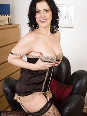 Cute brunette Montse Swinger spreads her lacey legs