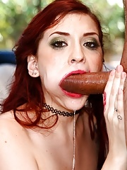 Cute redhead Amber Ivy goes balls deep in her pretty mouth & soft throat
