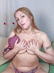 Dana Karnevali fingering her hairy gash on the bench