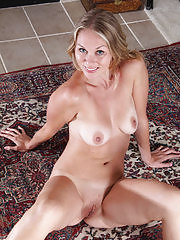 During yoga stretches Lara Elaine gets naked and stretches pussy