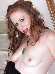 Elegant blonde Amber Carlisle gets naked on the stairs