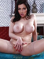 European mom Aletta Ocean with beautiful fake tits enjoys hard banging