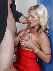 Gorgeous MILF Alena Croft removes her red dress and gets nailed