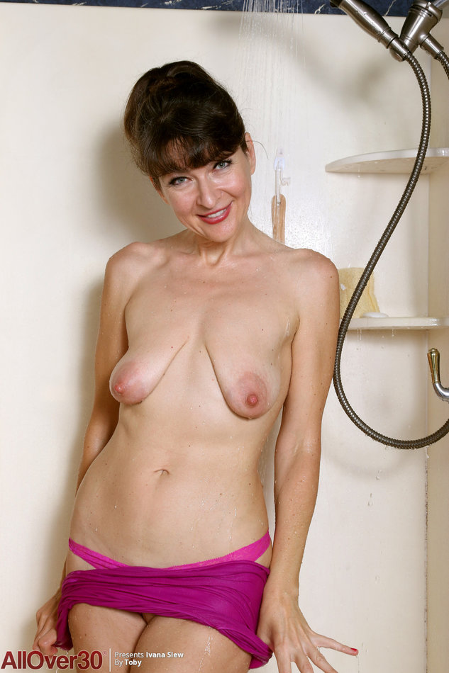 Mature wife prepares for shower