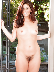 Horny Alicia Silver spreading her hairy pussy in the yard