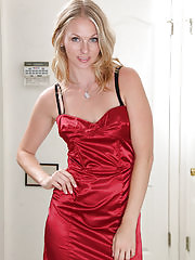 Horny and elegant Lara Elaine strips off her evening gown for you