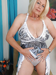 Horny Angelique tugs at her mature box